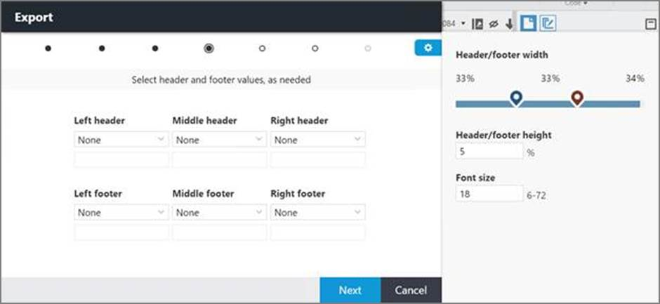 Headers\footers page in the Export window