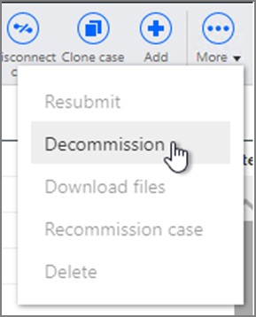 Decommission option on the More menu