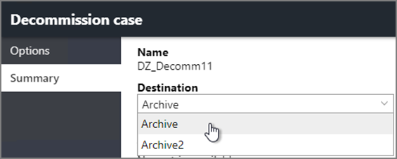 Summary page on the Decommission case dialog box showing Destination options