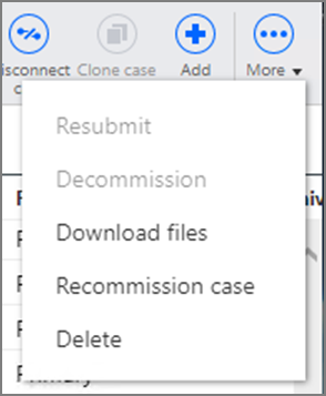 Cases page More menu options