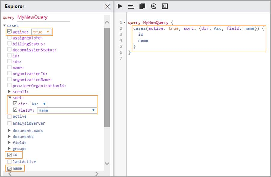 Explorer and Editor panes showing example query