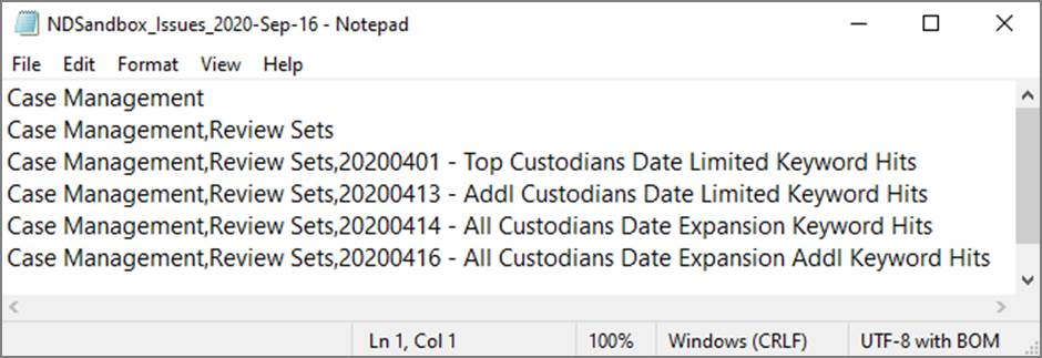 Example of export issues .csv file in text editor