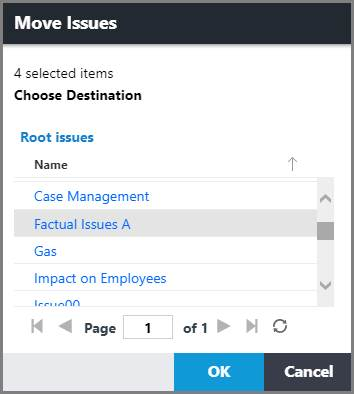 Move Issues dialog box