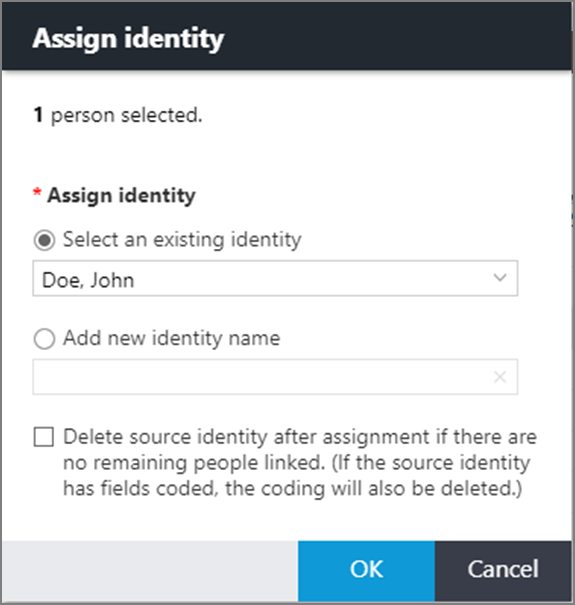 Assign identity dialog box