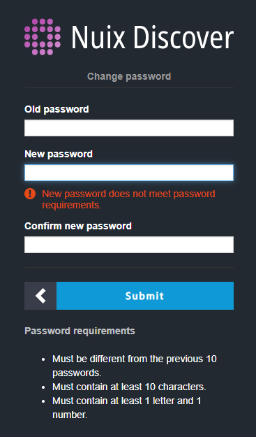 Nuix Discover login page showing the password requirements.