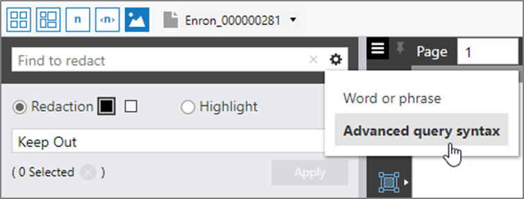Find and redact feature in the View pane showing the Advanced query syntax option