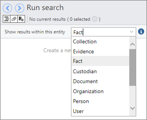 Search page showing a list of entities to search within