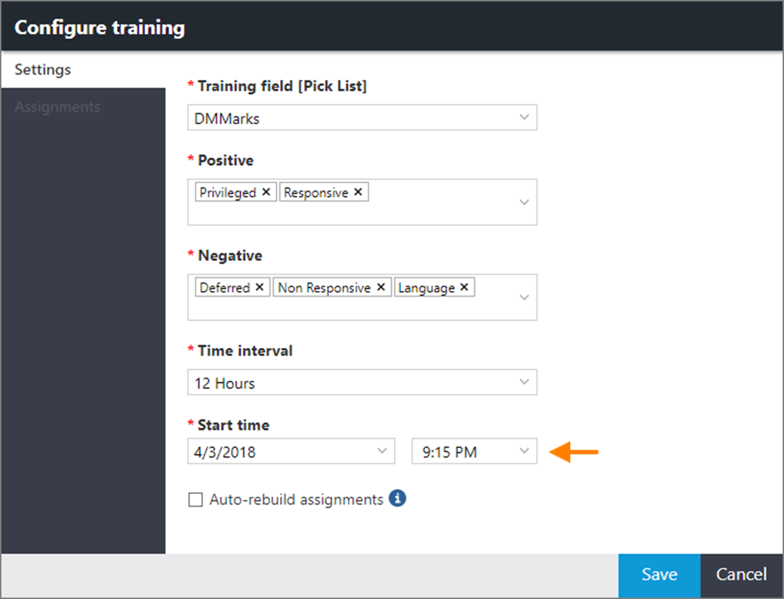 Start time option in the CAL Configure training dialog box