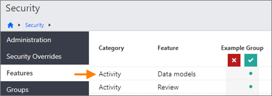 Activity - Data models option on the Security Features page