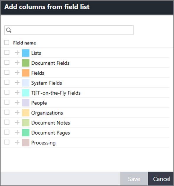 Add columns from field list dialog box