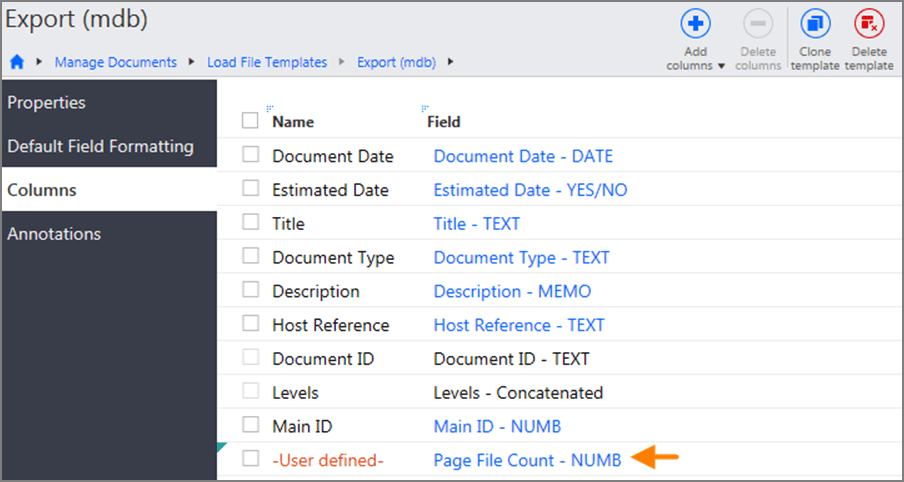 When adding fields to the template, the value in the Name column appears as -User defined-