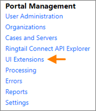 UI Extensions link under Portal Management on the Portal Home page