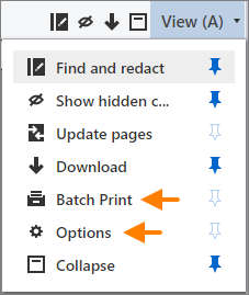 Batch Print button and Options button on the View menu.