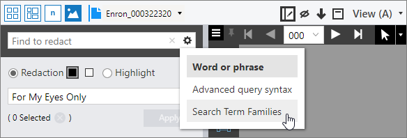 Search term family option in the Find to redact box.