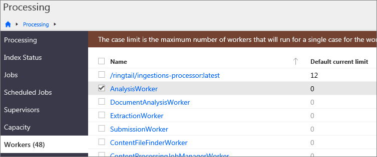 The Processing > Workers page.