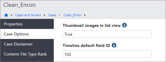 Thumbnail images in list view case option.