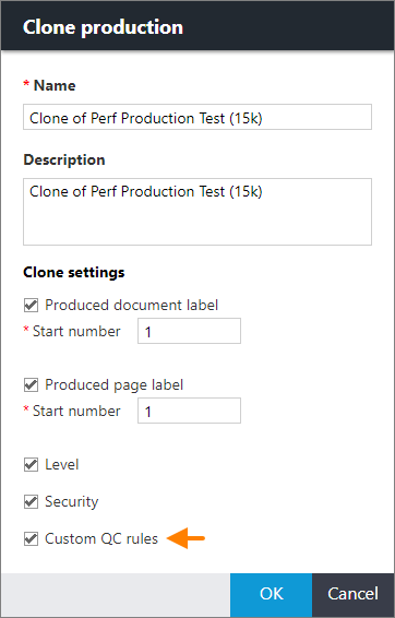 Clone production dialog box showing an arrow pointing to the Custom QC rules check box.