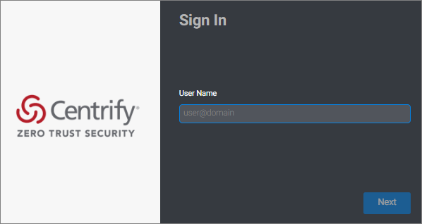 Centrify sign-in page.