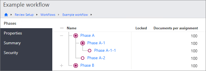 Phases page in the Review Setup area.
