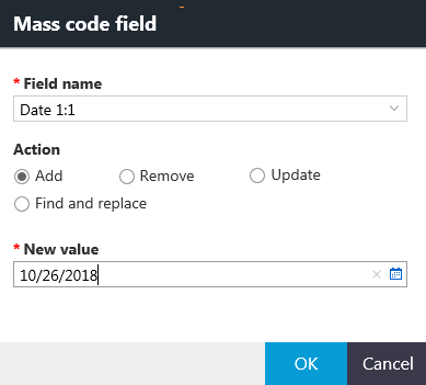 Mass code field dialog box with options for the Add action.