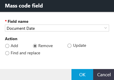 Mass code field dialog box with options for the Remove action.
