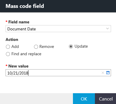 Mass code field dialog box with options for the Update action.
