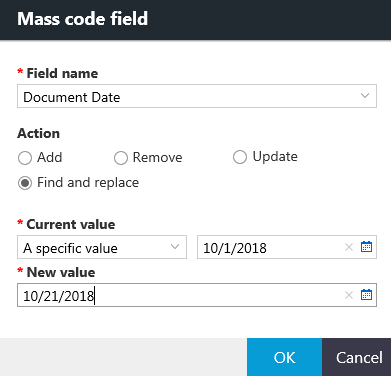 Mass code field dialog box with options for the Find and replace action.