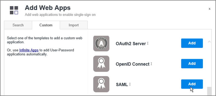 Add a SAML web app in Centrify.