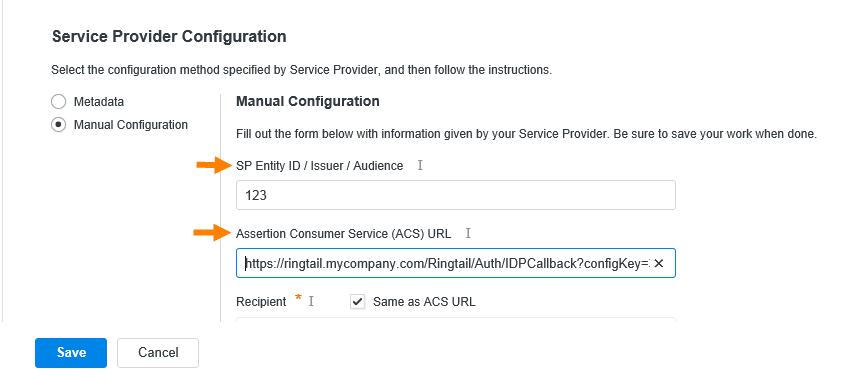Service Provider Configuration with arrows pointing to the SP Entity ID/Issuer/Audience and the Assertion Consumer Service (ACS) URL boxes.