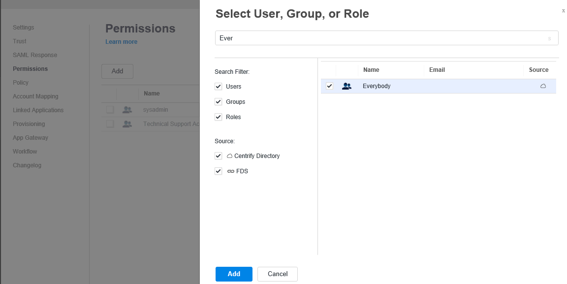 Select User, Group, or Role window.