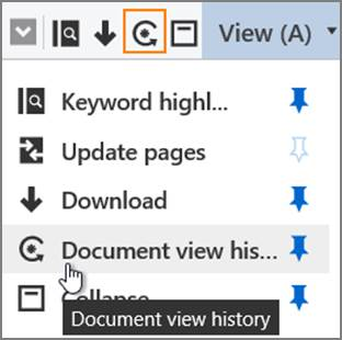 View pane Document view history selection