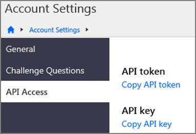 Account Settings API Access page