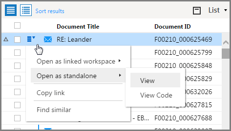 When you open a standalone workspace from the Options menu in the List pane, you can now choose between a workspace that contains a View pane and a workspace that contains a View pane and a Code pane