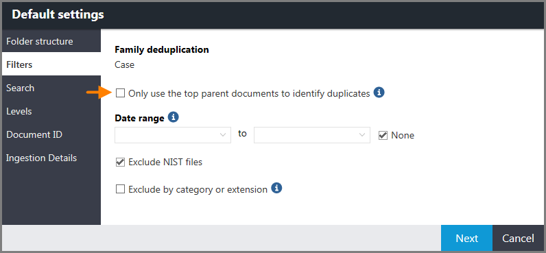 Default settings window for ingestions showing the Filters page and the following option: Only use the top parent documents to identify duplicates.