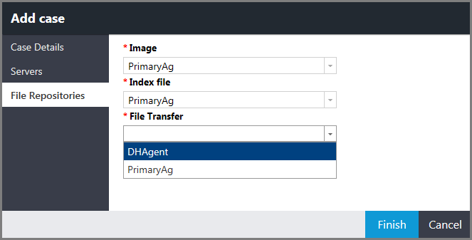 Add case window showing the File Repositories page and the File Transfer menu with options
