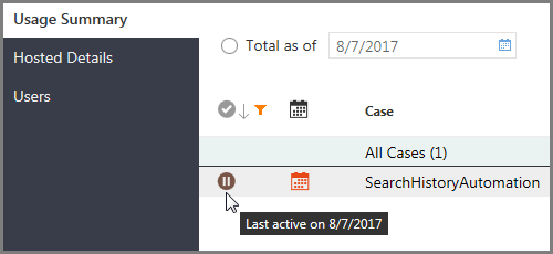 Case status indicator on the Usage Summary page in Portal Management Reports, showing an inactive case, and a tooltip indicating when the case was last active
