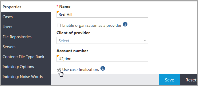 Properties page for an organization displaying the Use case finalization option