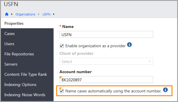Properties page for an organization showing the following option: Name cases automatically using the account number