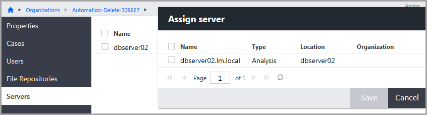 Assign server dialog box