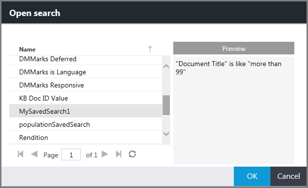 Open search dialog box displaying the search query preview