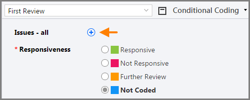 Add issues button in the Conditional Coding pane