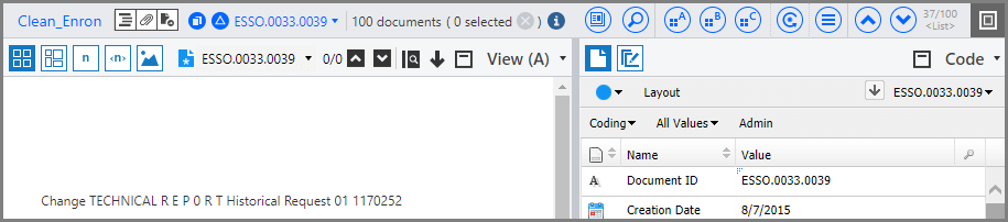 Collapsed toolbar on the Documents page