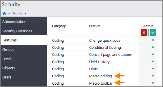 Features page in the Security section showing the Coding - Macro editing and Coding - Macro toolbar options