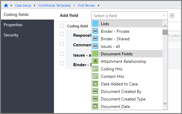 Add field list for editing the fields on a conditional coding template