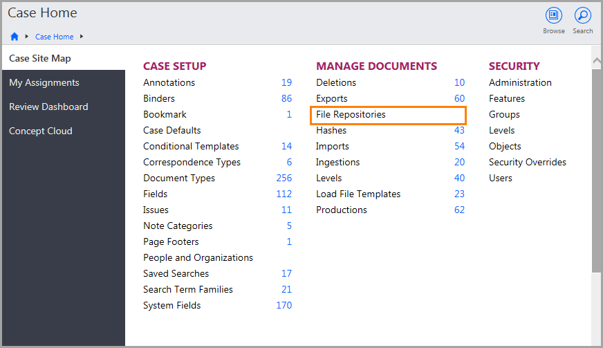 Case Home page showing the File Repositories link under Manage Documents