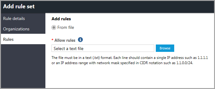 Rules page in the Add rule set window