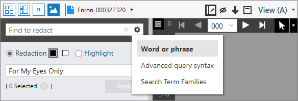 Search options in the Find to redact box.