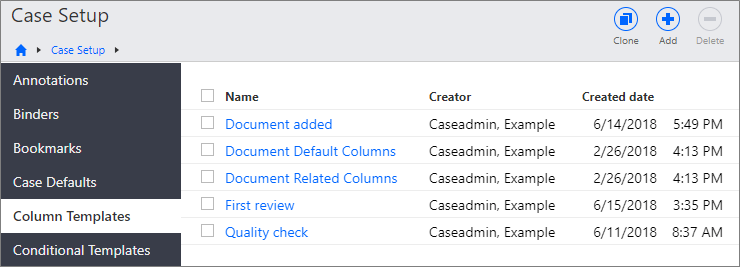 Column Templates page in the Case Setup section showing a list of column templates.