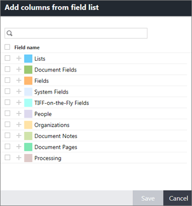 Add columns from field list dialog box.
