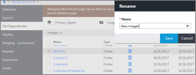 Rename a file or folder in File Repositories.
